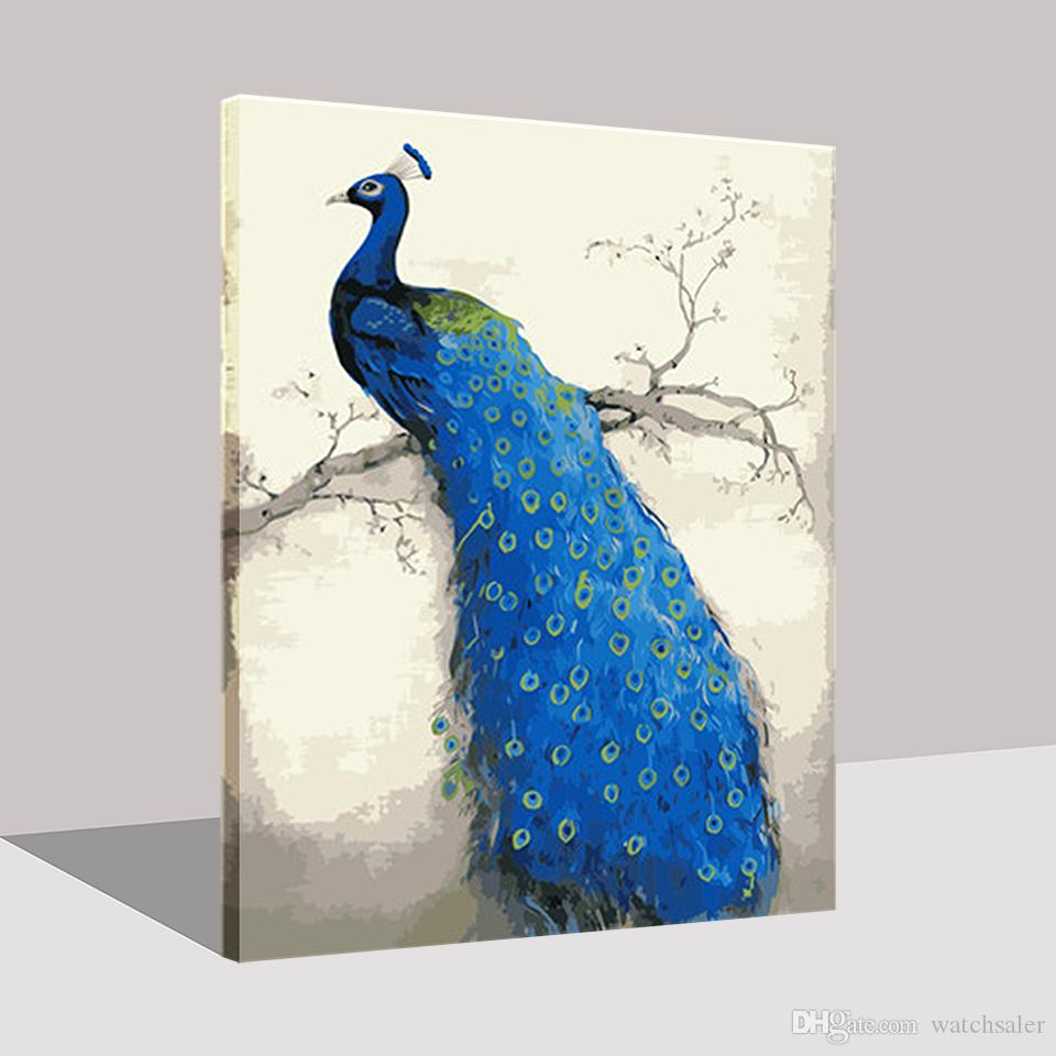 Framework DIY Digital Oil Painting By Numbers Kits Coloring Drawing Blue Peacock On Canvas Home Decor Hand Paint Animal Pictures
