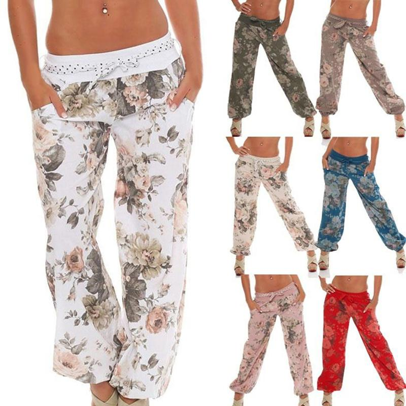 510d9b311ee 2019 NIBESSER Causal Women Flower Print Pants Drawstring Wide Leg Pants  Loose Straight Long Female Plus Size Trousers Autumn Summer From Rykeri