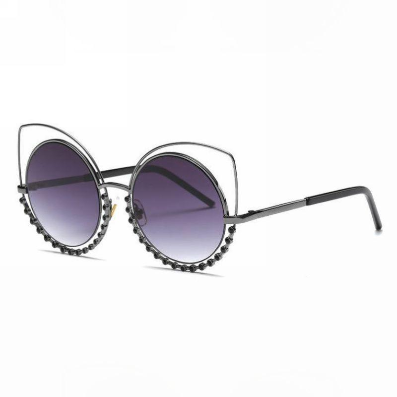 fd800775e4 Sexy Cat Eye Shaped Crystal Embellished Sunglasses For Women Round Lens Cut  Out Wire Metal Rim Circle Glasses Eyewear Glasses Frames Glasses Online From  ...