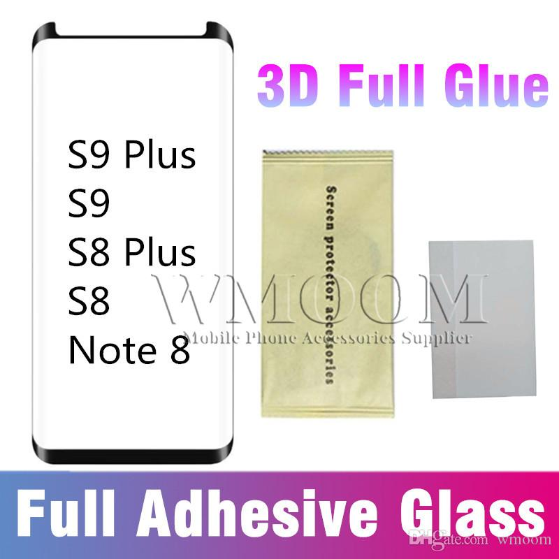 Full Adhesive Tempered Glass Full Glue Screen Protector Case Friendly 3D  Curved HD Clarity Sensitive Touch for Samsung S9 S8 Plus Note 8 9