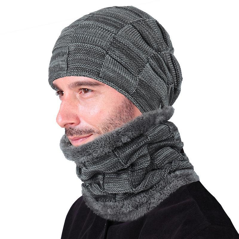 800f03afd24 2019 Winter Warm Hat Men S Wool Cap Woolen Knit Caps Scarves Bib Set  Knitted Hats Neck Scarf Accessories For Men Male Beanie Scarfs From  Shuidianba