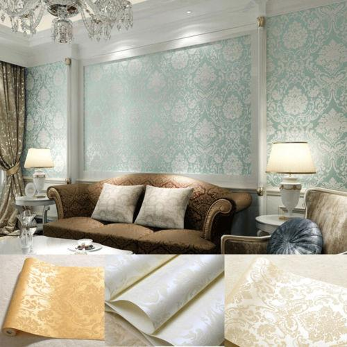 Beige White Blue Gold Wall Sticker Embossed Textured Roll Non-woven New Style Decal Art Decor