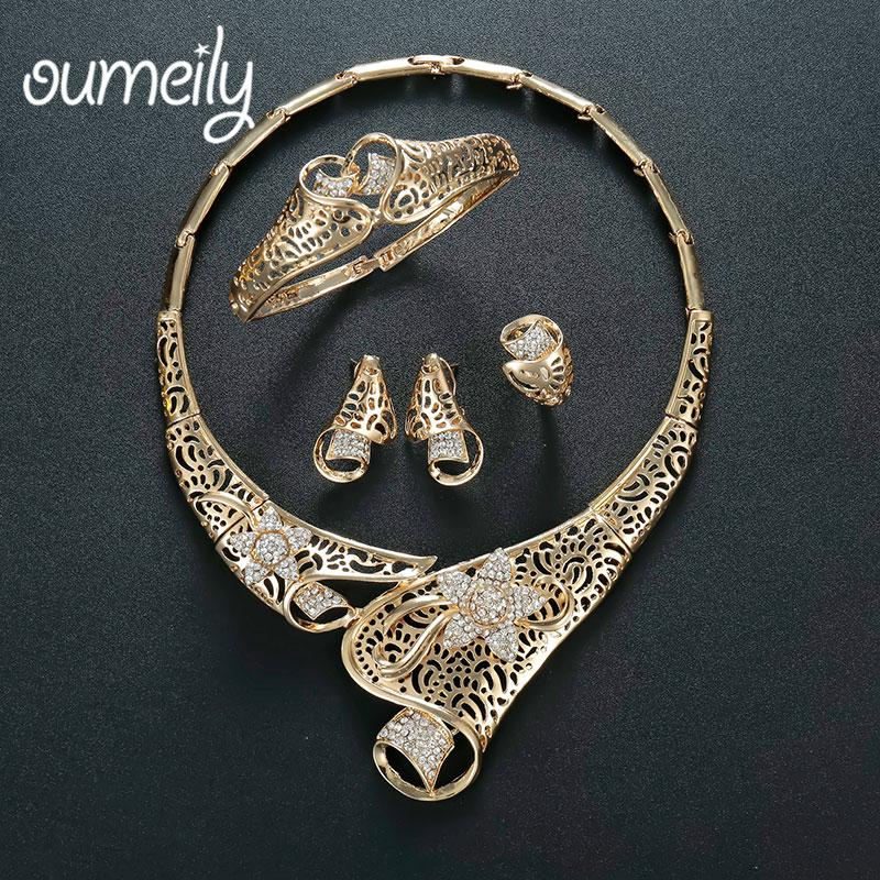 2018 Oumeily Turkish Jewelry Jewellery Set Nigerian Beads Necklace