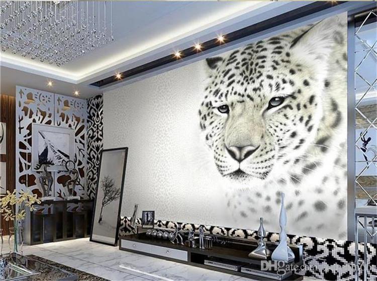 personalizada foto 3D papel de parede quarto mural de estar tigre leopardo moda 3d que pinta papel de parede de fundo sofá TV não-tecidos para a parede 3d