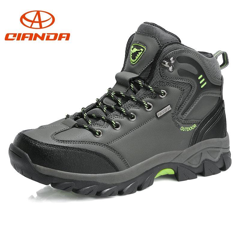 b68d302b5f ... Marca Senderismo Zapatos De Cuero Botas De Trekking Antideslizante  Resistente Al Desgaste De La Montaña Escalada Al Aire Libre Zapatos De Los  Hombres ...