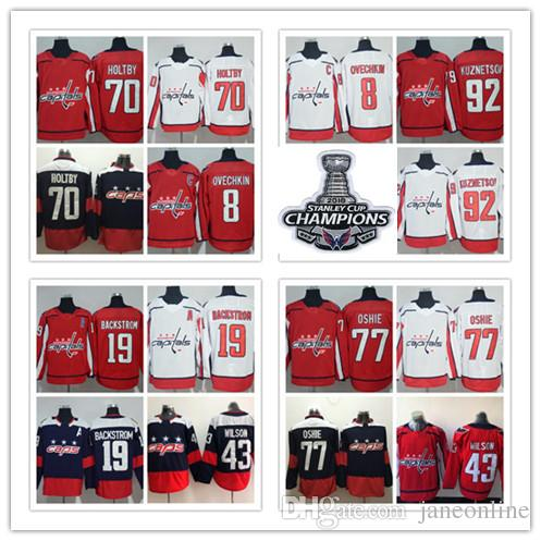 7839e511b35 2018 Stanley Cup Champions Washington Capitals 8 Alex Ovechkin 77 T.J.  Oshie Nicklas Backstrom Braden Holtby Wilson Kuznetsov Hockey Jersey UK  2019 From ...