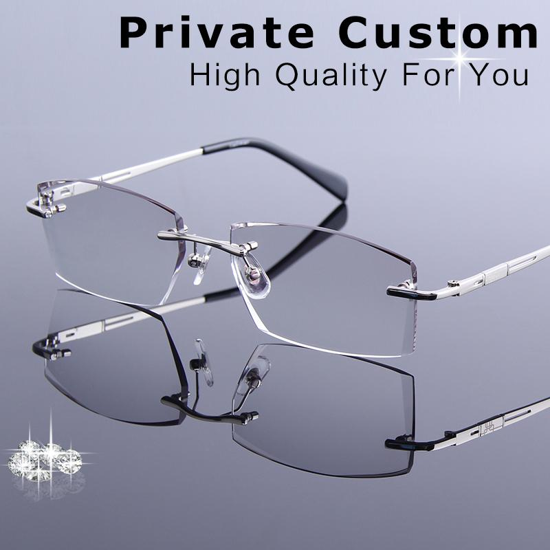087e7cb80bf 2019 New Luxury Tinted Lenses Myopia And Reading Glasses Diamond Cutting Rimless  Prescription Glasses For Man Anti Fatigue Spectacles From Milknew