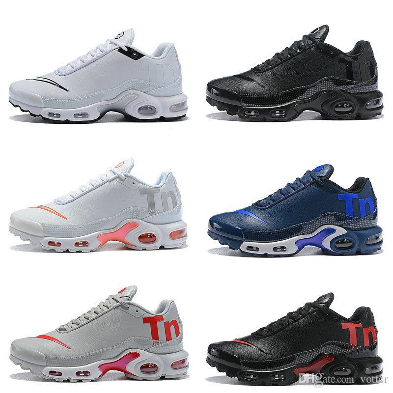 sale retailer f0cab f2c0a Acheter 2018 Nouveaux Hommes Mercurial Plus Tn Ultra SE Noir Blanc Rose  Desinger Chaussures De Course En Cuir Hommes Tns Sports En Plein Air  Baskets De ...