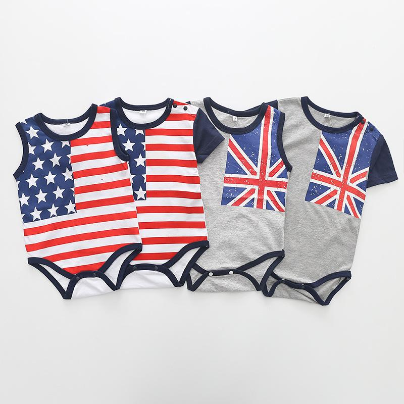 d1f95cb763ac 2019 Baby Boys Girls Rompers Children Clothing Wholesale 18 Children 4th Of  July US UK FLAG Flag Short Sleeved Vest Jumpsuit Dress Up From Yunrao