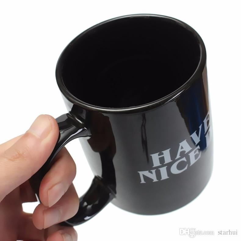 Yaratıcı Iyi Günler Seramik Kahve Kupalar Var 301-400 ML Orta Parmak Komik Fincan Süt Çay Içme Fincan Hediyeler WX9-240