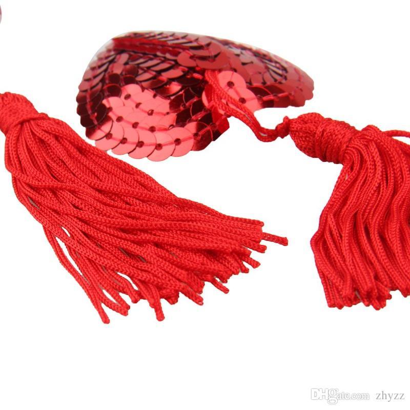 I pacchi autoadesivi sexy del seno della copertura del capezzolo del reggiseno di forma del cuore della copertura della nappa di paillettes autoadesive sexy coprono il trasporto di goccia / set