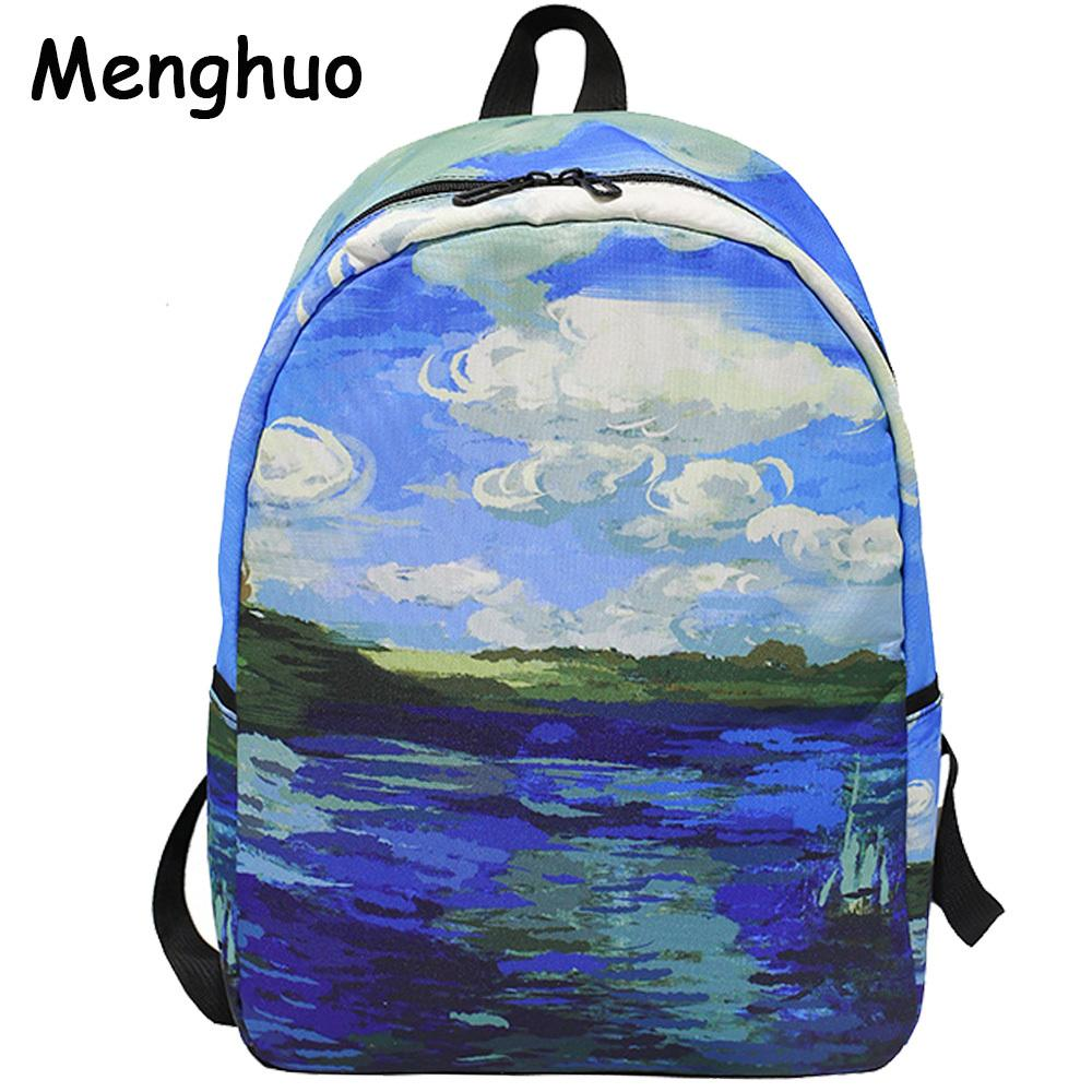 Menghuo Brand 2017 Daily Women Backpack For School Teenager Girls Boys Full  Printed Nylon Travel Backpacks Casual Bags Mochilas Y1890401 Dog Backpack  ... 07f3fe6d67769