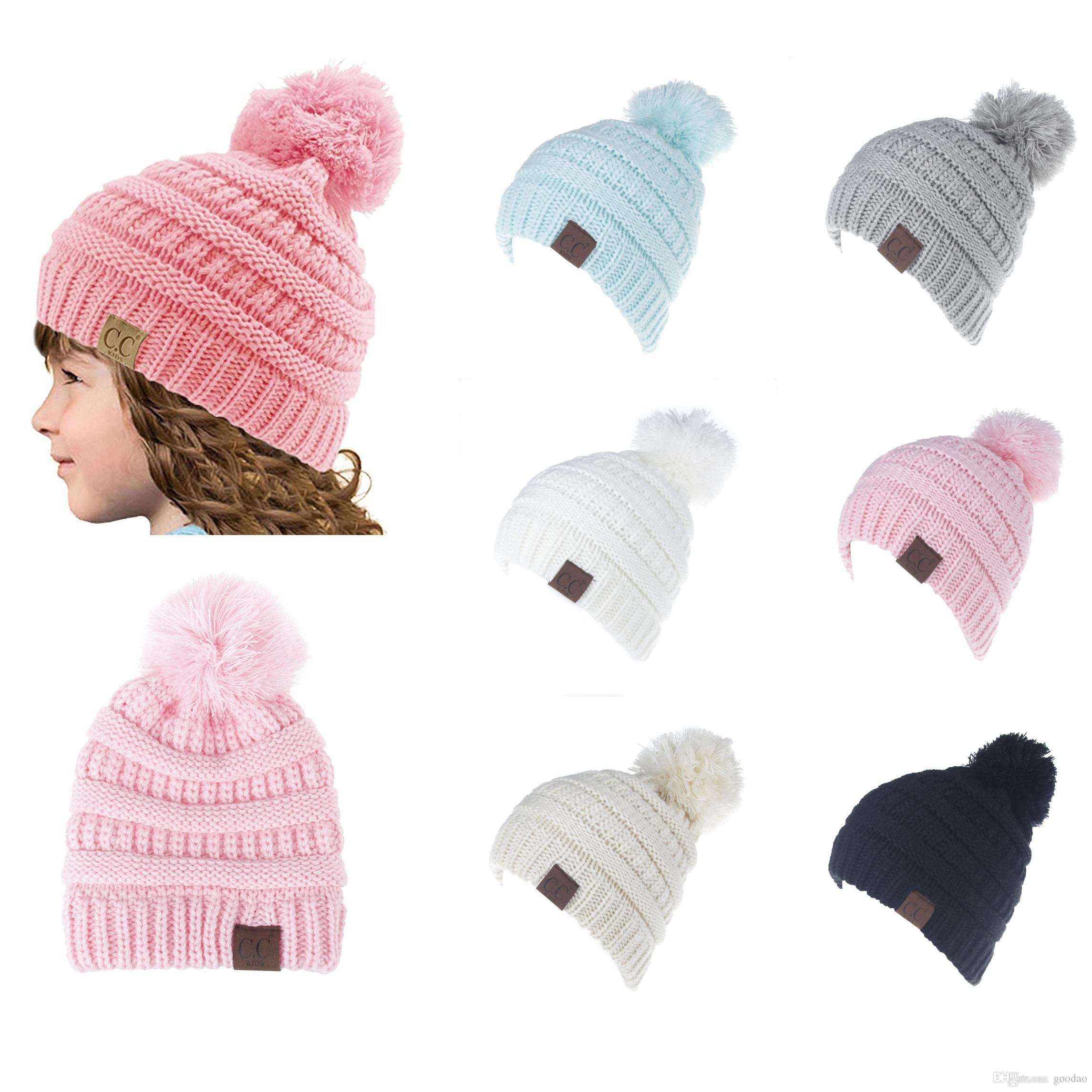 2017 New CC Trendy Beanie Knitted Hats Kids Chunky Skull Caps ... ccb07058b245