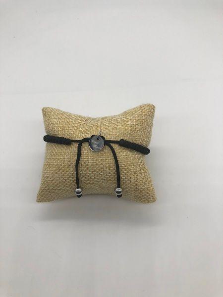 Bracelet à breloques tressé en cire noire avec bracelet en acier inoxydable avec tête de mort pour femmes ou pour hommes, bijoux fantaisie Demon818