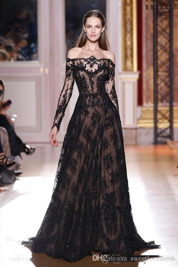 2017 Black Appliqued A Line Bateau Neckline Lace Evening Dresses Inspired By Zuhair Murad Long Sleeves Black over Nude Evening Gowns
