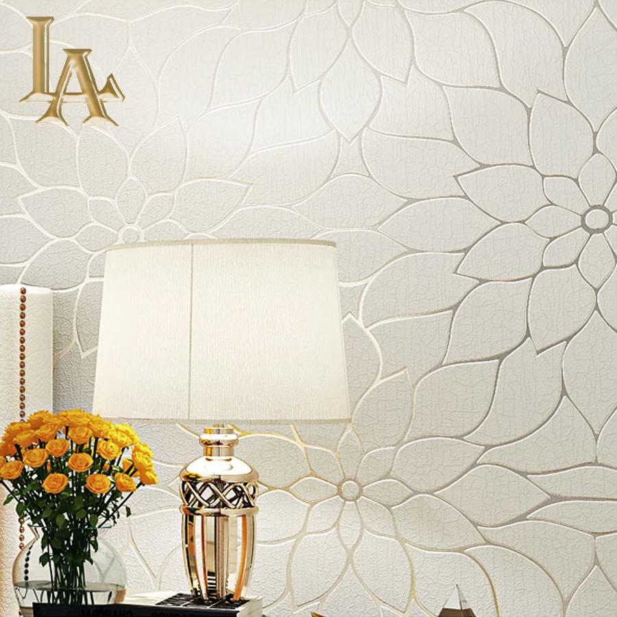 Thick Flocked Modern Simple Lotus 3d Wallpaper For Walls Bedroom