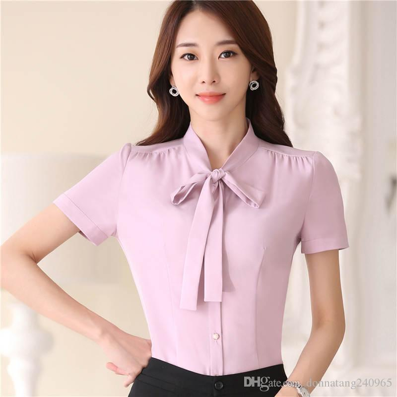 fb23fe4a863a5 Summer elegant bow neck women shirt new fashion formal short sleeve slim  chiffon Blouse office ladies plus size tops white