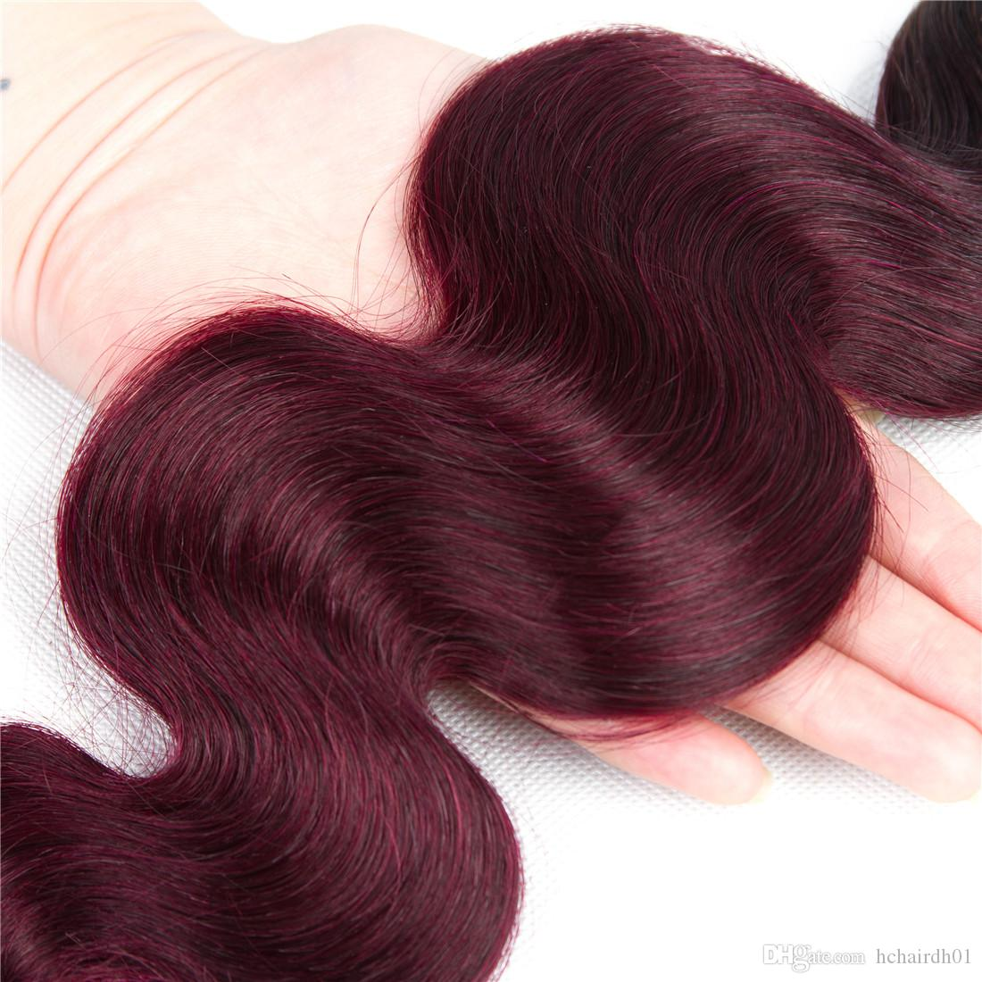 Mode Fille Ombre Cheveux Brésiliens 3 Bundles Avec Fermeture En Dentelle 1b / 99j Body Wave Faisceaux de Cheveux Humains Deux Tons Ombre Brésilien Corps De Cheveux