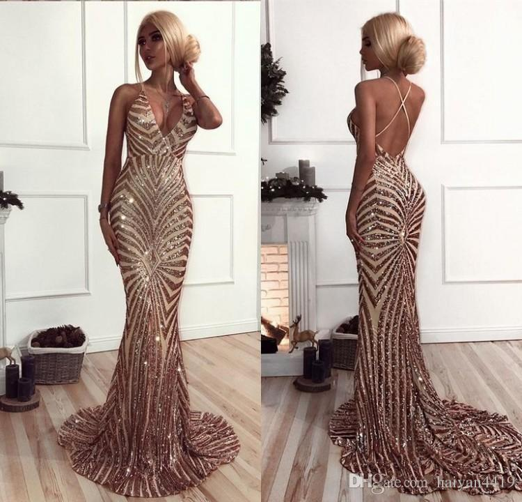 312e0334 2018 Sparkly Prom Dresses Mermaid Sequins Deep V Neck Criss Cross Backless  Sweep Train African Sweet 16 Spaghetti Straps Party Evening Gowns Gold Prom  ...