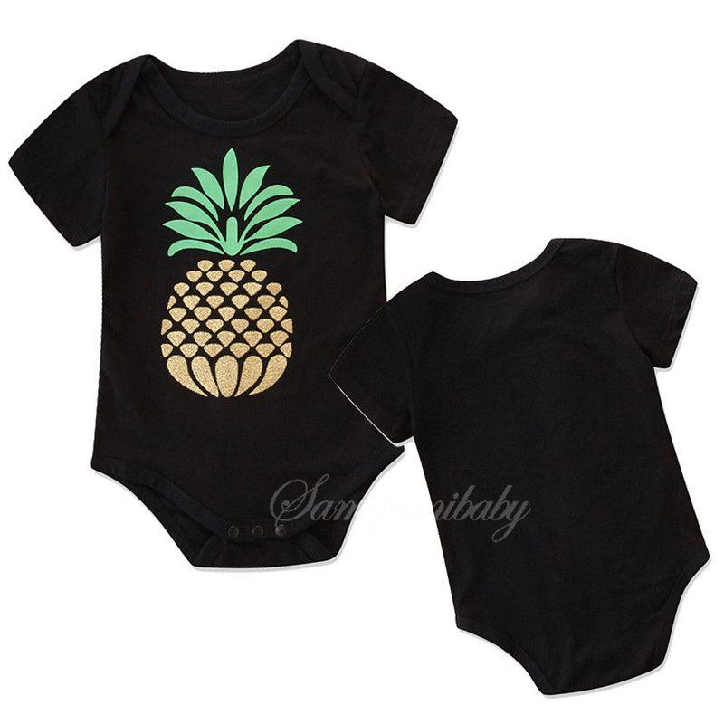 c37f646bdeb8 2019 Baby Romper Ins Summer Boys Girls Romper Black Short Sleeve ...