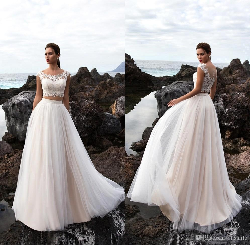 8128f5b0e8 Discount Two Pieces Tulle A Line Summer Beach Wedding Dresses 2018 Bohemia  Lace Top Floor Length Wedding Bridal Gowns With Buttons Bridal Store Cheap  Gowns ...