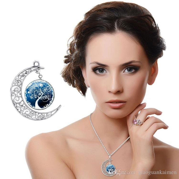 New Fashion Vintage Tree of Life Necklace Moon Gemstone Women Pendant Necklaces Hollow Carved 8 Mix Jewelry Styles