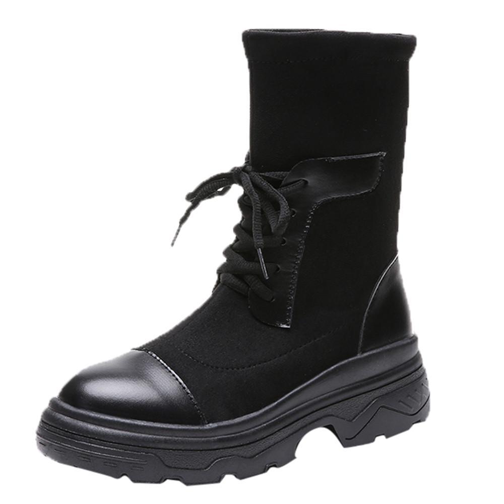 Compre Invierno 2018 Moda Mujeres Retro Fondo Grueso Zapato De Punta  Redonda Mantener Los Calcetines Calientes Tubo Medio Martin Boot Zapatos  Mujer   G8 A ... 602fd03cdebf