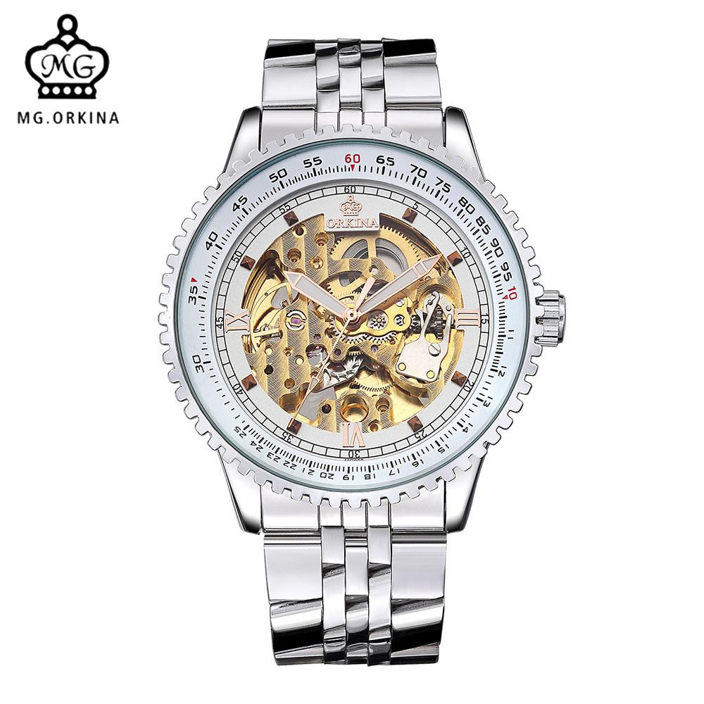 86d2ed7b160 MG. ORKINA Brand Male Automatico Watches Luxury Golden Skeleton Mehcanical  Movement Steel Band Men S Watches Relogio Masculino Buy Wristwatches  Designer ...