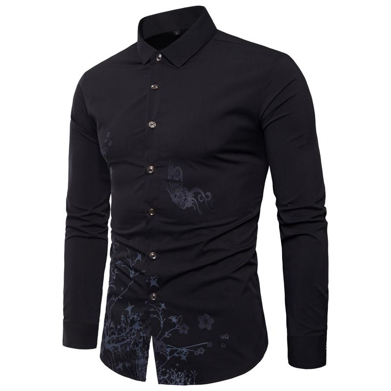 7076764ac56 2019 M 5XL Large Code Four Seasons Long Sleeve Male Shirt Printing Fashion  Repair The Body Elastic Force Casual Turn Down Collar From Michalle