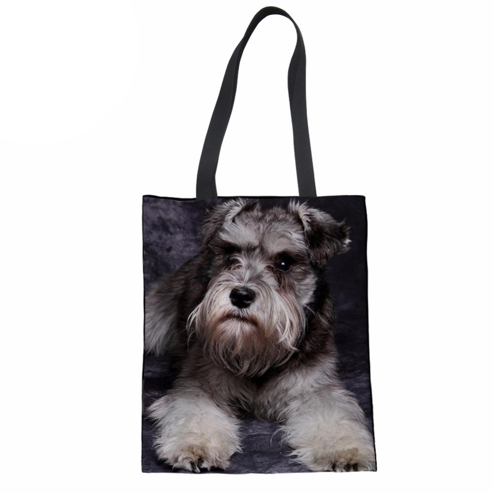 ac649572cf90 Women Shopping Bags Schnauzer Printed Custom Reusable Handbag Ladies  Shoulder Cloth Pouch Foldable Grocery Bulk Organizer Wine Bags Wholesale  Best Reusable ...