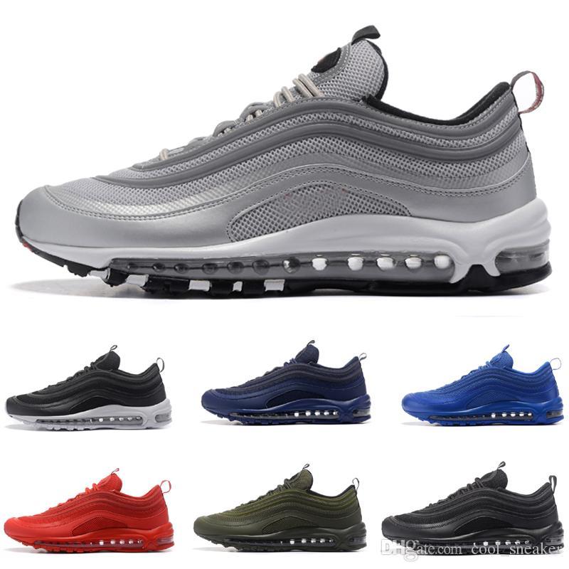 ad564ddd6ac 2018 Summer Silver Bullet 97s OG QS Triple Black White Blue Red Green Men S  Running Shoes Sport Airs Sneaker For Men Euro Size 40 46 Running Shoes Men  ...