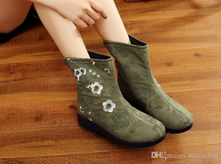 2017 New Trend Half Women Boots Embroidery National Style Round Toes Cloth Shoes Slip On Low Heel Comfortable Breathable Big Size 40