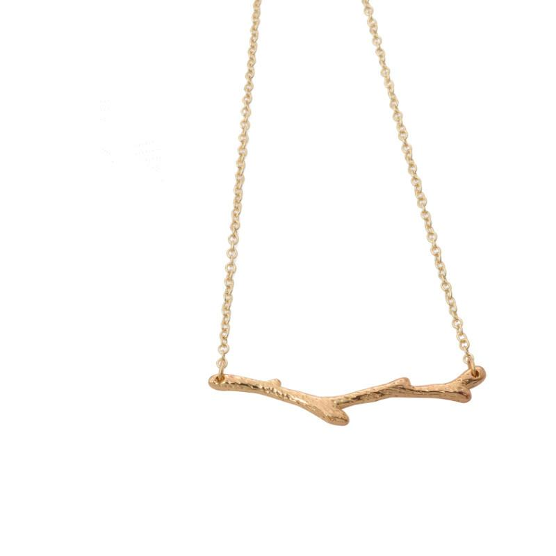 2018 Plant shape plated gold necklace Long branch pendant necklace for women gifts wholesale