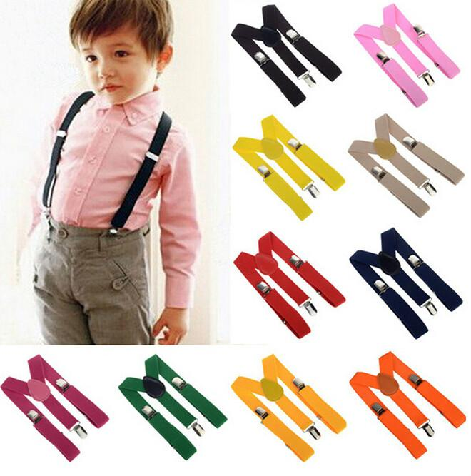 Hot Adjustable Straps Unisex Pants Fully Elastic Y-back Suspender belt Braces for Kids Boy Girls 26 Candy Colors Clip-on Free Shipping