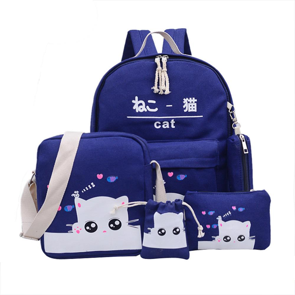 b1c4342a11 2019 FashionCat Backpacks For Teenage Girls School Bags Student Drawings  Lovely Canvas Kitty Printing Cute Pencil Case Bag Bolsas Kelty Backpack  Camo ...