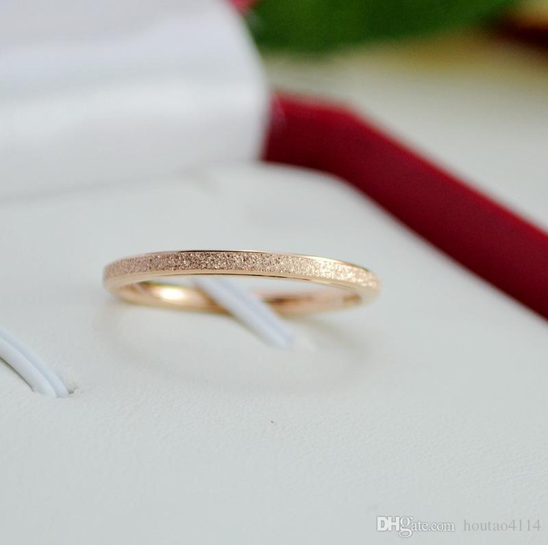 Top Fashion Silver Titanium Steel Smooth Pierścień, Tytanowa Stalowa Biżuteria Para Ring Women Scrub Rose Gold Ring
