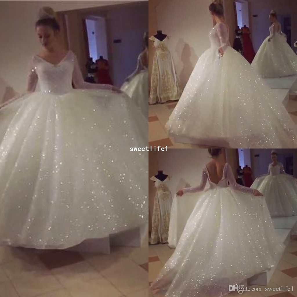 68e83840883 2018 Bling Bling Sequins Long Sleeves Wedding Dresses Ball Gowns And Pearl  Beaded Sexy Backless Wedding Gown Fairy Wedding Dress Gowns Dresses From ...