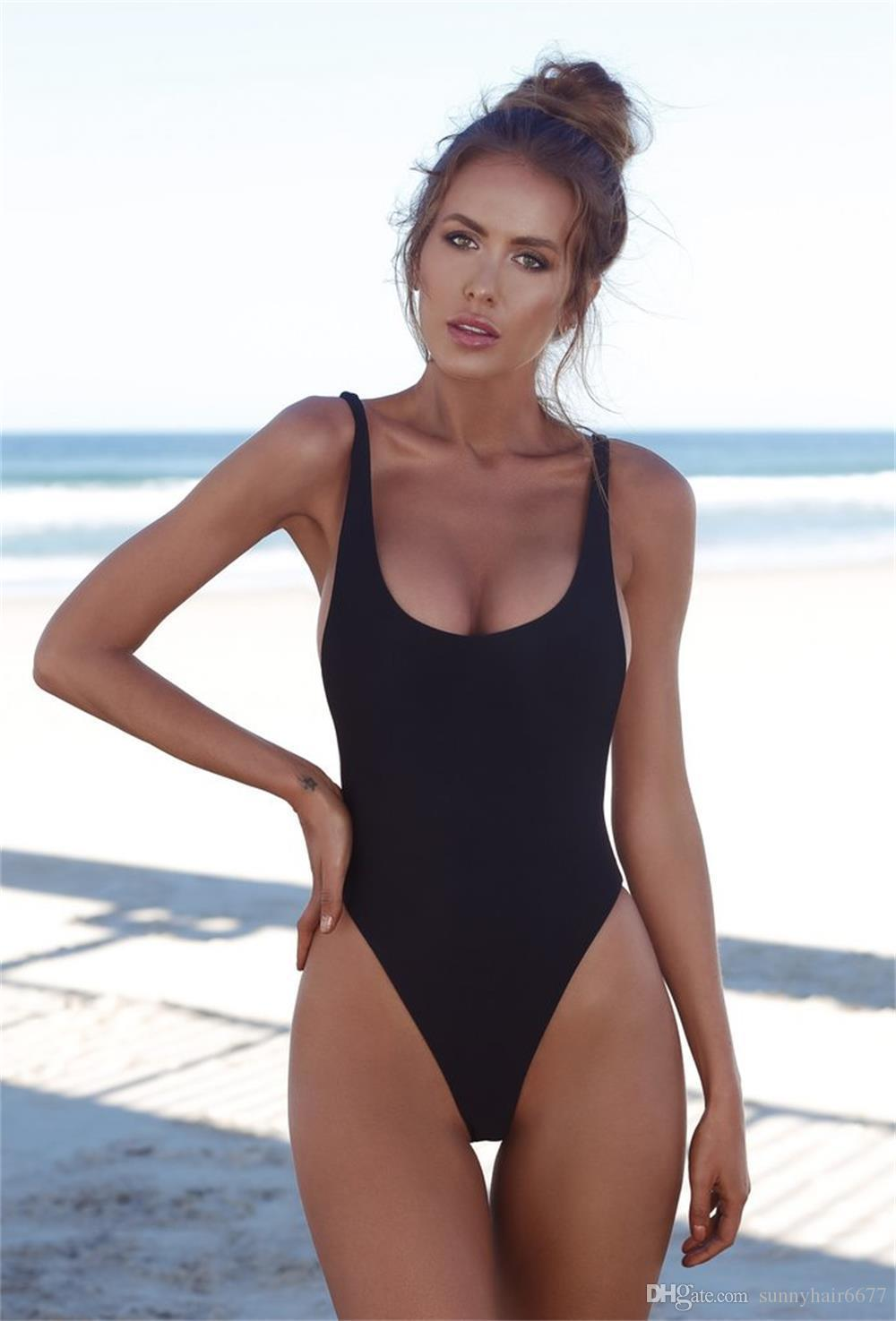 6fc6d62831 2018 One Piece Swimsuits Sexy Solid Women Bathing Suits Backless Swimwear  Female Biquini Summer Beach Wear 937 Bikines Bikinis Bikini Women Online  with ...