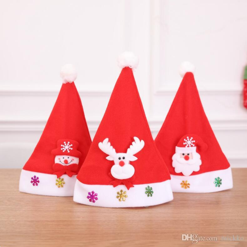 e1961a49c356f Children Christmas Party Santa Claus Snowman Hat Caps Supplies Kids  Birthday Party Cartoon Cap Decorations Christmas Decoration Props Party  Paper Hats Party ...