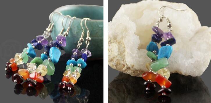Handwork 7 Reiki Chakra Healing Balance Energy Earrings Colorful Natural Crystal Dangle & Chandelier Earrings For Women Stretch Yoga Jewelry