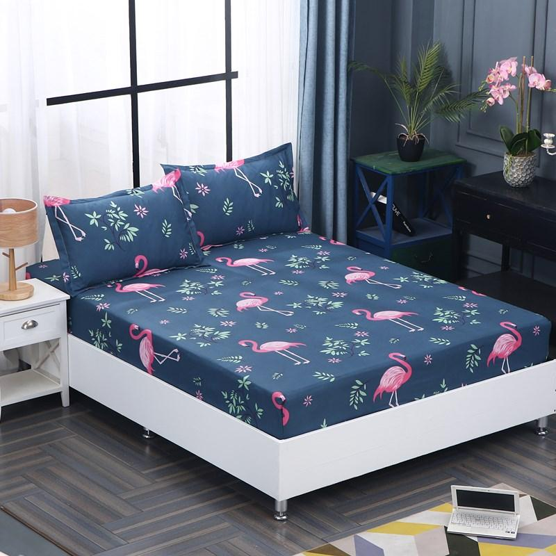 Cotton Fitted Sheet Pillowcase Mattress Cover Bed Sheet Bedlinen With Elastic Band Single Double Twin Queen Size 160cm*200cm Smart Home
