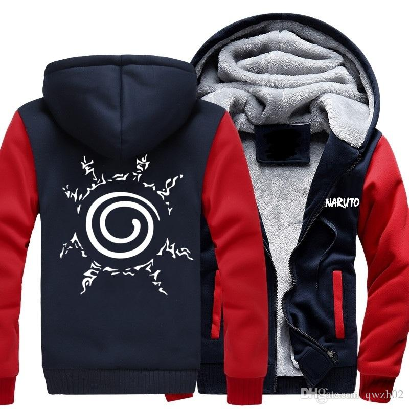 2018 USA SIZE Unisex NARUTO Anime Akatsuki Hoodies Coat Winter Fleece Thicken Luminous Sweatshirts Jacket -A