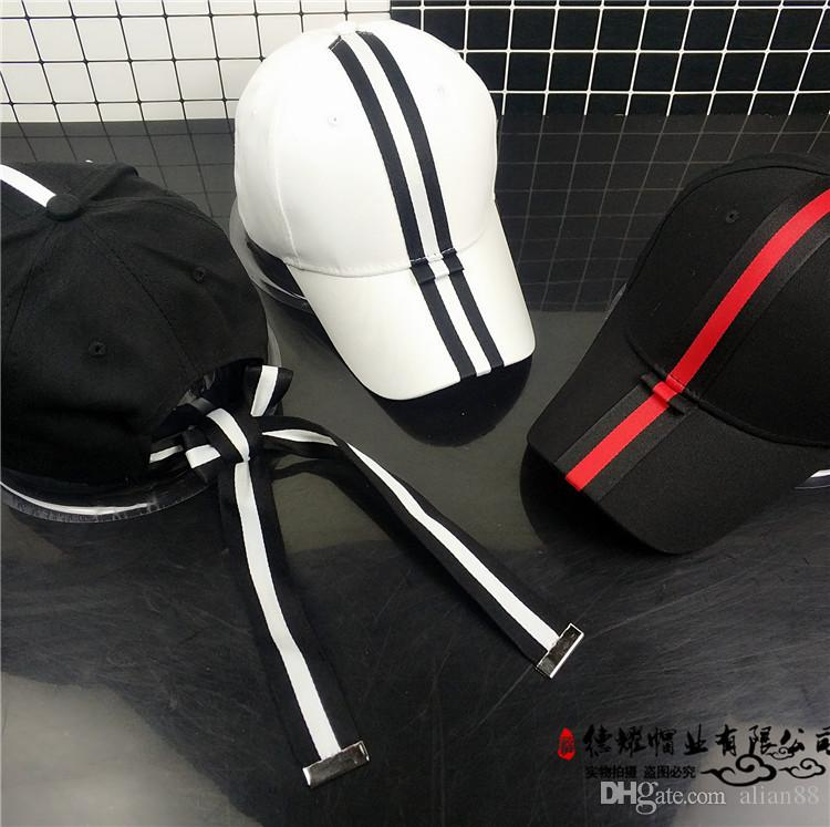 Hat girl spring style striped ribbon bow tie with tongue cap outdoor shade student baseball cap