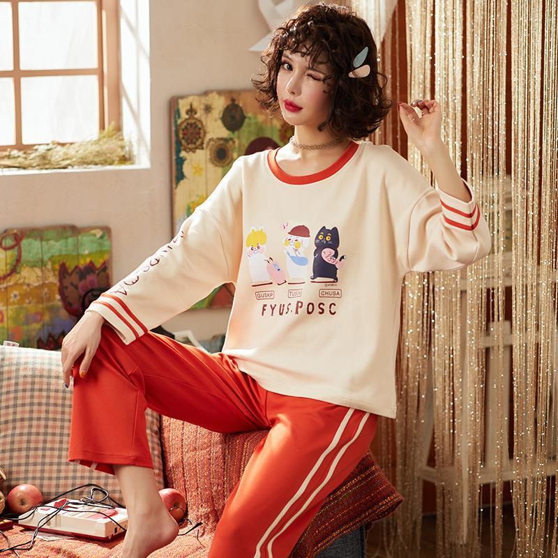 4d1b2eabe2 Compre 2018 Otoño Invierno Conjunto De Pijamas De Manga Larga De Algodón  Pijama Femme Inicio De Dibujos Animados De Impresión Chica Traje De Dormir  Pijama ...