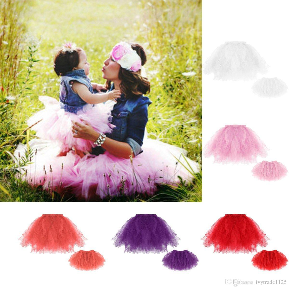 5 colors DHL Free hot sale family mom daughter skirt summer family Matching dress solid color tutu dress free shipping