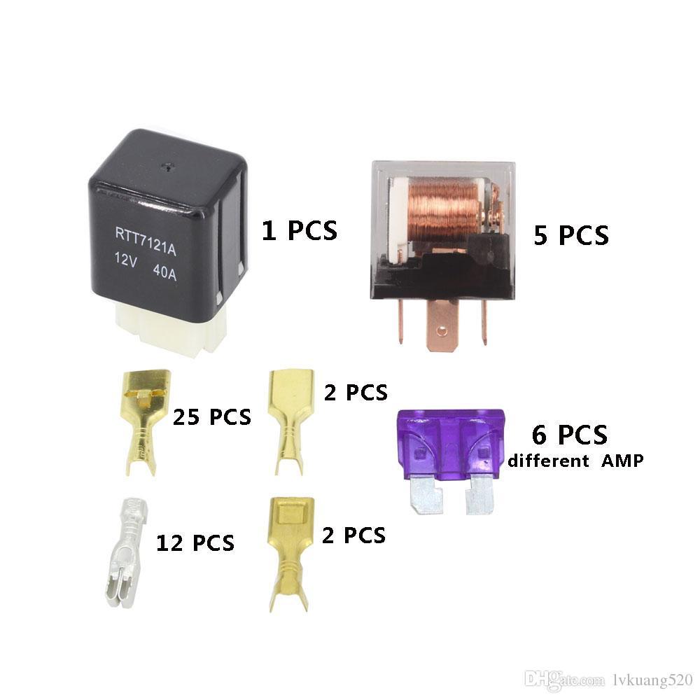 6 가지 방법 12V를 가진 자동적 인 상자 집합 4Pin 40A + 4Pin 12V 40A 릴레이 자동 차 보험 정제는 퓨즈 상자