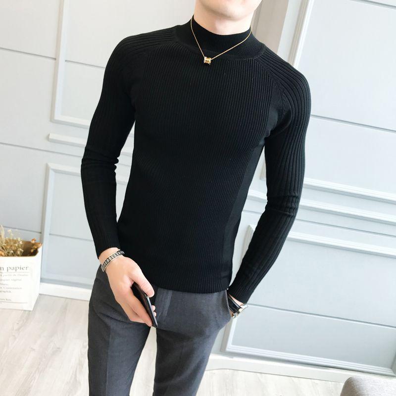 527d7aeb0 Compre Homens Preto Camisola Sólida Mangas Compridas Outono Homens Quentes  Estilo Harajuku Moda Slim Fit Blusas Masculinas De Lichee666