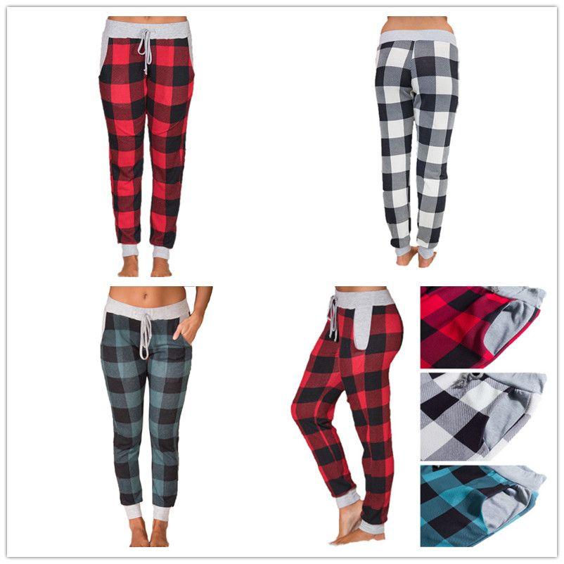 Compre Diseñador De Tela Escocesa Pantalones Largos De Yoga Con Cordón  Deportivo Pantalones Pantalones De Chándal Mujeres Casual Jogger Danza Harem  ... 2e676a1b003