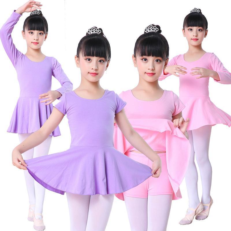 e0944216c6 Compre Crianças Crianças Rosa Algodão Roxo Curto   Manga Longa Roupas  Collant Meninas Ballet Dance Dance Dance Dance De Vikey13