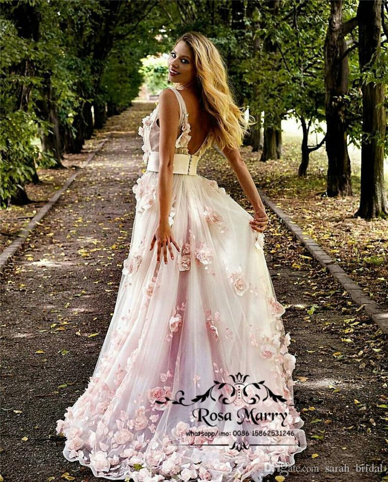 6106caf276a Blush Pink 3D Floral Cheap Prom Dresses 2019 A Line V Neck Plus Size  African Arabic Girls Pageant Formal Evening Party Gowns Cheap Cute Prom  Dresses Cheap ...